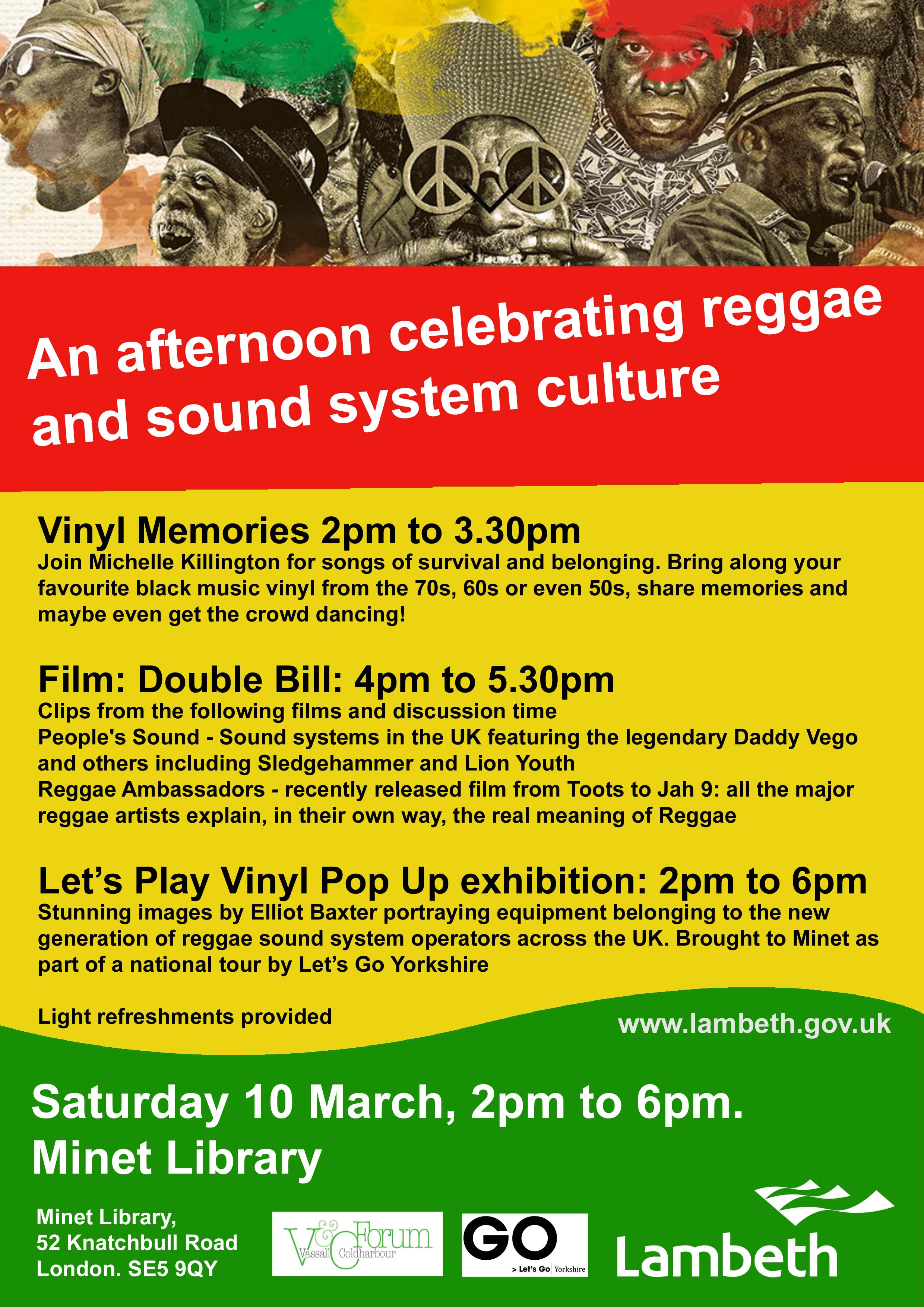 An afternoon celebrating reggae and sound system culture. Saturday 10 March, 2pm to 6pm at Minet Library, Knatchbull Road, SE5 9QY